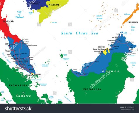 vector malaysia map malaysia map stock vector illustration 105174287