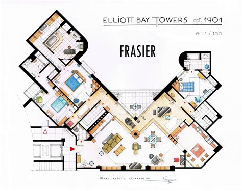 Frasier Crane Apartment Floor Plan | frasier s apartment floorplan v2 by nikneuk on deviantart