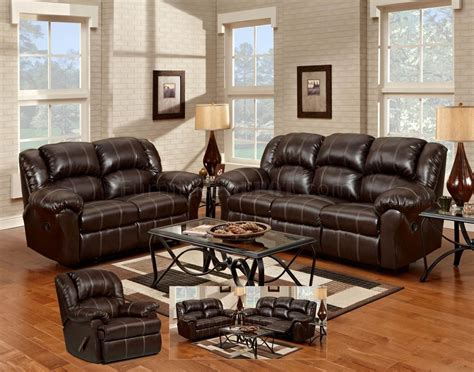 brown bonded leather modern reclining sofa loveseat set