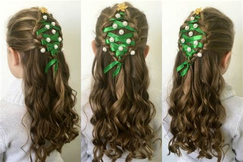 christmas tree hairstyle tutorial youtube