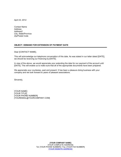 Certification Letter Of Payment Demand For Extension Of Payment Date Template Amp Sample