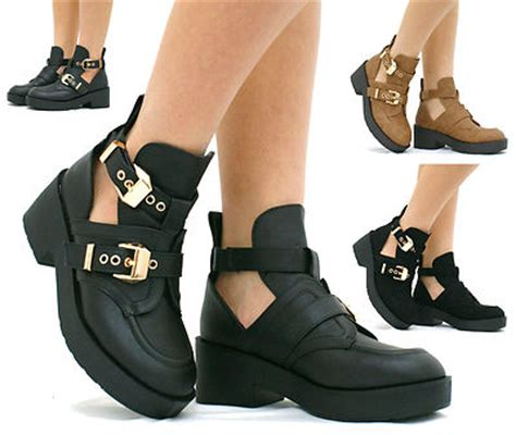 womens ankle boot chunky mid heel platform gold buckle cut