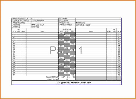 electrical load schedule template 9 electrical panel schedule cashier resume