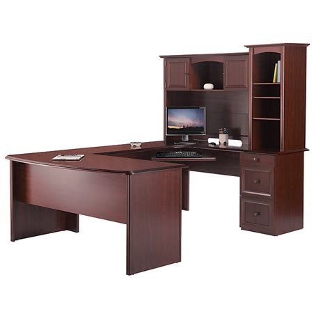 Realspace Broadstreet Contoured U Shaped Desk W Hutch Small U Shaped Desk