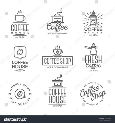 design elements of a coffee shop set coffee shop logo isolated on stock vector 450236356