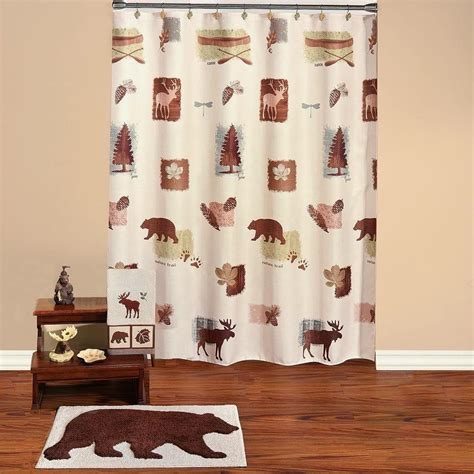 moose cabin deer bathroom ensemble shower curtain rug