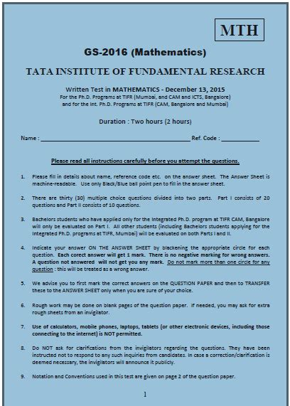Tifr Gs 2016 Mathematics Dec 2015 Question Paper