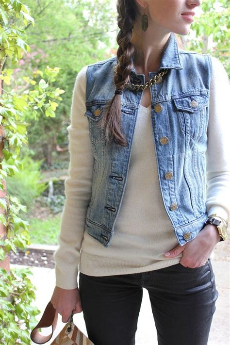 jean outfits on pinterest style bee in black pants white sweater and jean vest