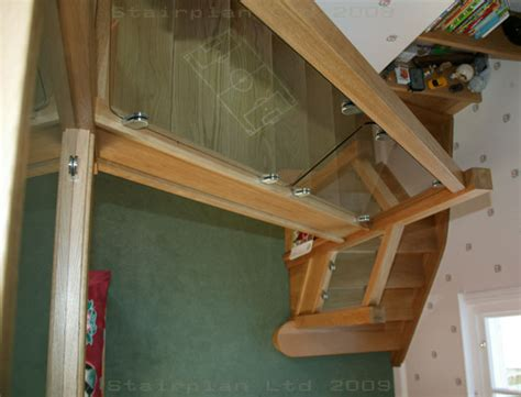 Staircase Banisters Glass Balustrading Oak Handrail With Glass Toughened Glass