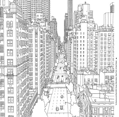 Coloring Book Page Of A City | coloring books for grown ups 7 free pages to print