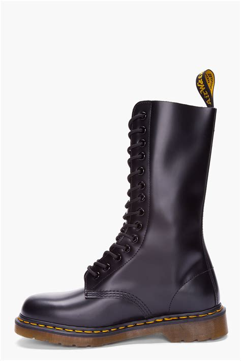 dr martens black leather lace up boots in black for