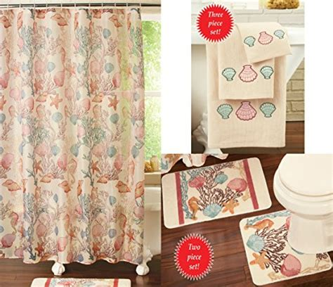 Seashell Shower Curtain Bathroom Set Seashell Bathroom Accessories Webnuggetz