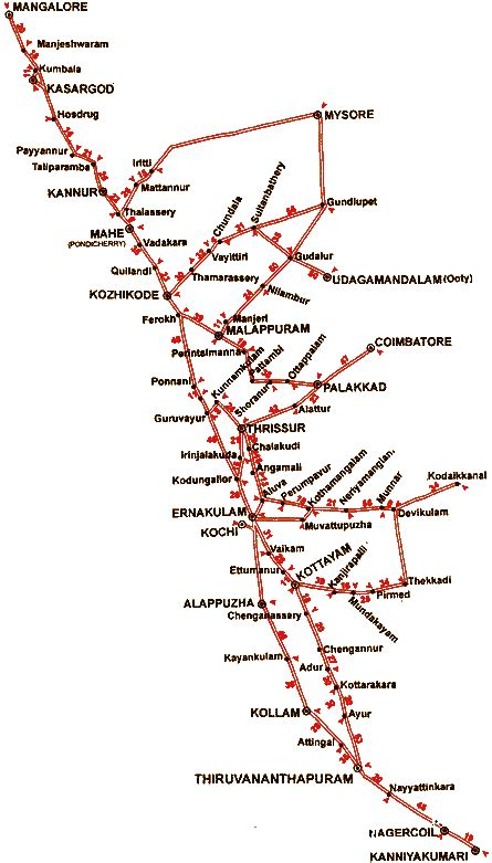 distance road map map of kerala with distance lawas