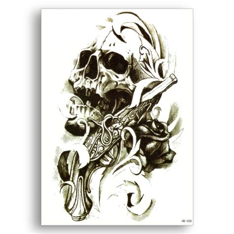 skull rose and gun tattoos water transfer waterproof temporary stickers