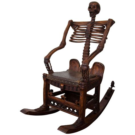 Mid Century Leather Chair An Antique Hand Carved Skeleton Rocking Chair At 1stdibs