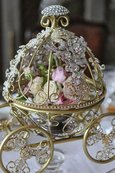 Inspired By Disney Cinderella S Fairytale Wedding Carriage Cinderella Carriage Centerpiece Themed Centerpieces
