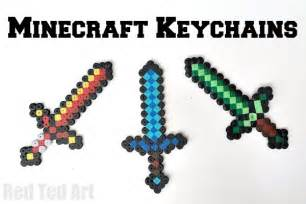 Easy minecraft crafts diamond sword keychains made from perler beads