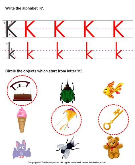 what color starts with k identify words that start with k worksheet turtle diary