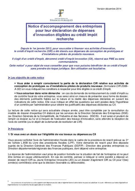 Credit Impot Formation Dirigeant 2014 Notice Notice Pour La D 233 Claration De D 233 Penses D Innovation 233 Ligibles Au Cr 233 D