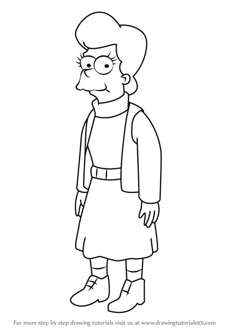 How To Draw The Simpsons On The by Learn How To Draw Mona From The Simpsons The