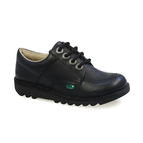 Kickers Pantofel Low Black Leather kickers kick lo j black black kf0000439btw ebay