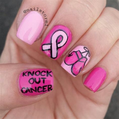 nail art ribbon design tutorial breast cancer awareness by nailstorm1 nail nails
