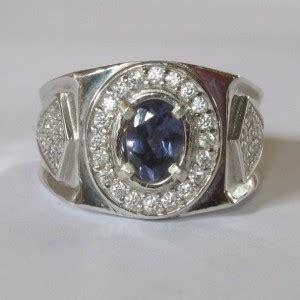 Cincin Bulat Warna cincin permata iolite untuk pria silver 925 ring 9us