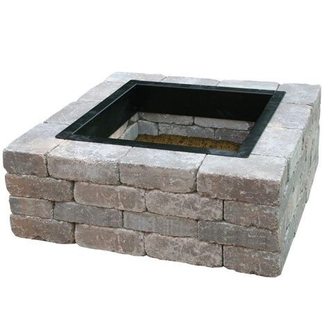 Square Firepits Anchor Fresco 44 In Northwoods Concrete Pit Kit With Metal Liner 70300881 The Home Depot