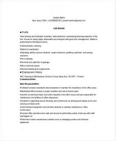 cleaning resume sle cleaning professionals resume exle custodian resume