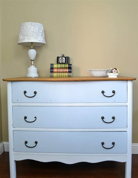two toned dresser with wood top refresh living