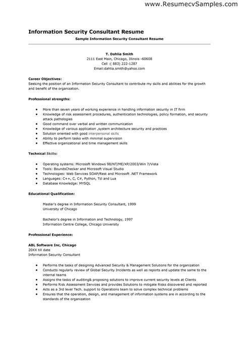 Security Consultant Sle Resume by Resume Sles Security Consultant Resume