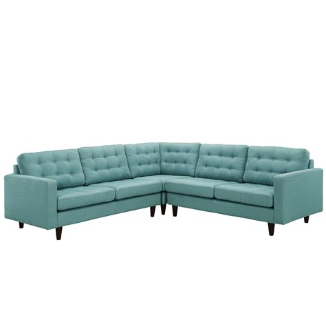 Laguna Sectional Sofa by Modway Empress 3 Fabric Sectional Sofa Set In Laguna