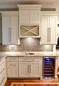 Wine Cabinet Kitchen Wet Bar Built Of White Shaker Cabinets With Built In Wine