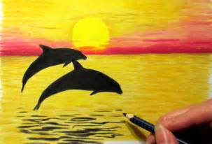 how to draw a sunset with colored pencils landscape in colored pencil sunset and 2 dolphins drawing