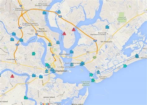 Map of Marinas   Boat Ramps   Parks in Charleston SC