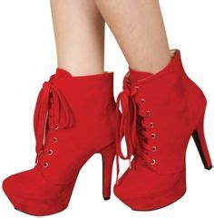 High Hels Suede Merah sepatu on