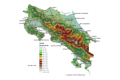 detailed map of costa rica large detailed topography map of costa rica with roads