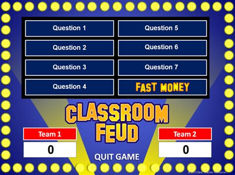 Family Feud Powerpoint Game Template School Pinterest Family Feud Show Templates For The Classroom