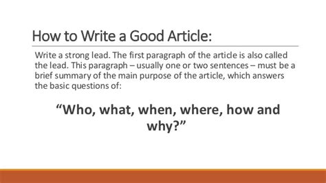 how to write articles for cap