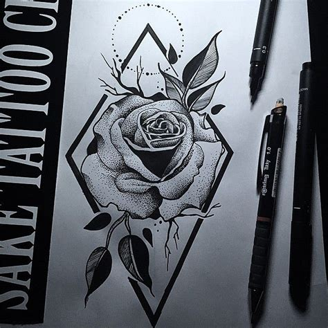 rose dotwork tattoo dotwork design ink piercings