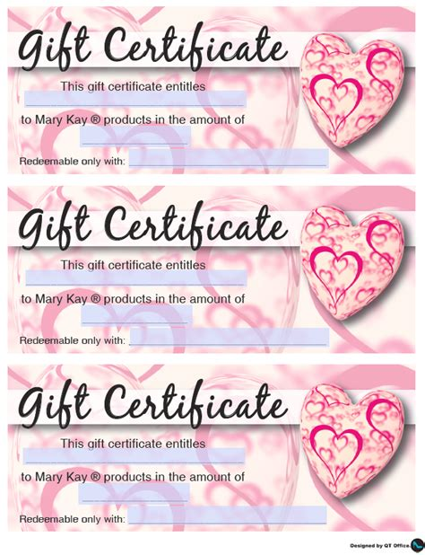 printable gift certificate mary kay mary kay 174 valentine s gift certificates qt office 174 blog