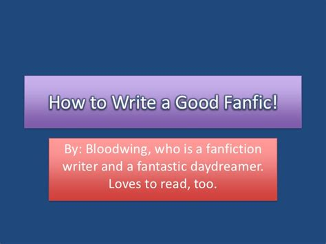 how to write a great fanfiction