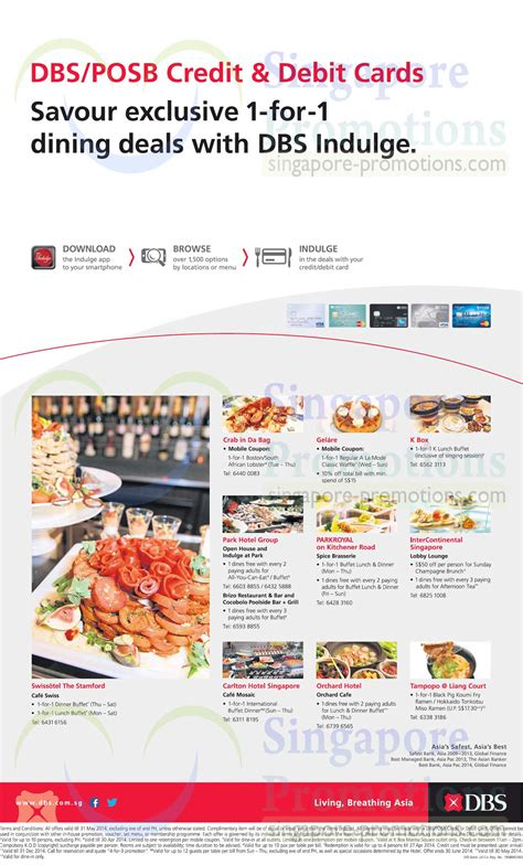 Best Restaurant Gift Card Deals 2014 - dbs posb 1 for 1 dining deals for credit debit cardmembers 3 apr 31 may 2014