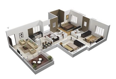 25 more 3 bedroom 3d floor plans architecture amp design 50 3d floor plans lay out designs for 2 bedroom house or