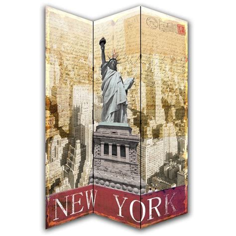 New York Room Divider New York Postcard Canvas Dressing Privacy Screen Folding Room Divider