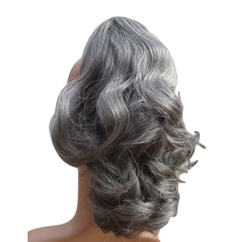 grey hair drawstring ponytail ponytails with gray streaks for sale hairstylegalleries com