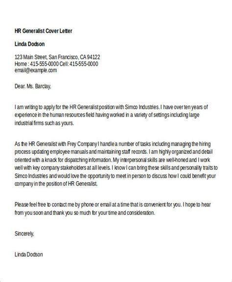 cover letter for human resources generalist cover letter template human resources generalist