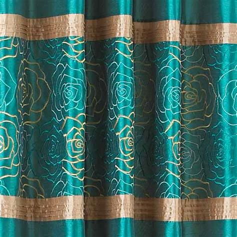 teal silk curtains bella embroidered top panel faux silk eyelet curtains