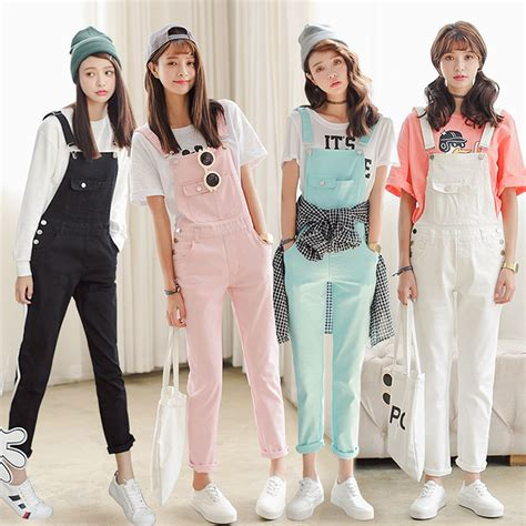 Overal Koreapink korean sweet casual straps bib overall denim jumpsuit