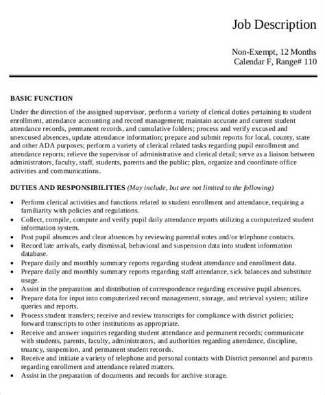 officer description template 10 office clerk descriptions pdf doc free